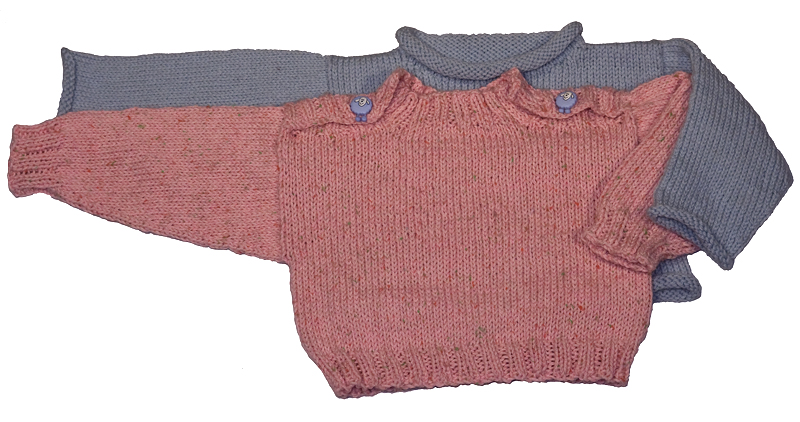 Momogus Knits Baby Pullover Sweater Knitting Pattern. Simple to knit baby sweater in two styles.