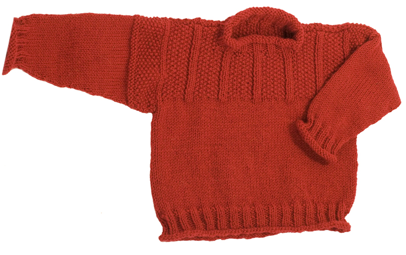 Momogus Knits Baby Sweater Knitting Pattern. Fisherman style gansey sweater for children.