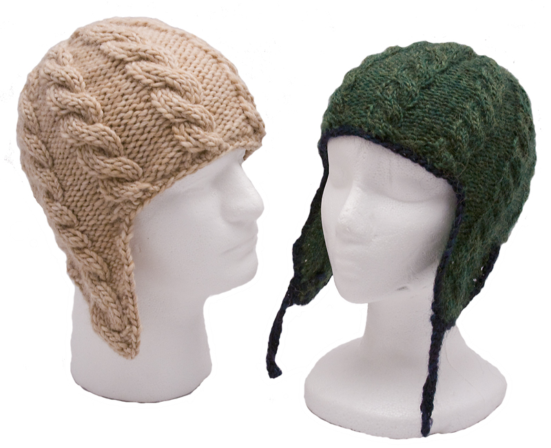 Momogus Knits Cable Flap Hats Knitting Pattern. Great looking hats for men and women.