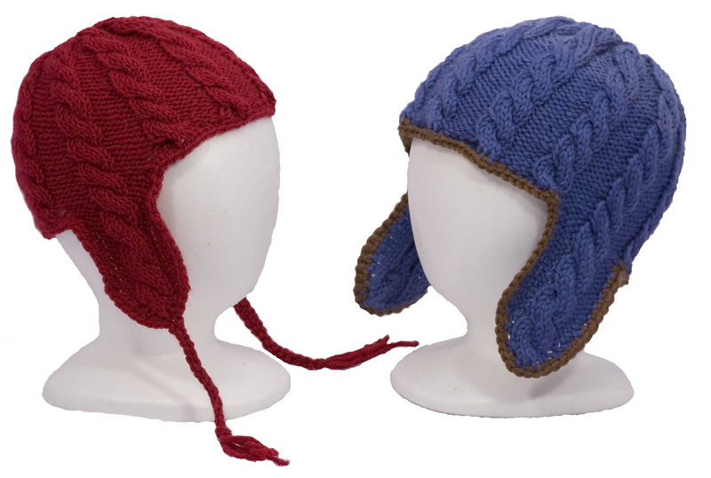 Momogus Knits Child Cable Ear Flap Hat Knitting Pattern. Fun to knit cabled ear flap hats.